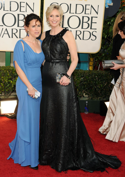 Dr. Lara Embry (L) and actress Jane Lynch arrive at the 68th Annual Golden Globe Awards held at The Beverly Hilton hotel on January 16, 2011 in Beverly Hills, California.