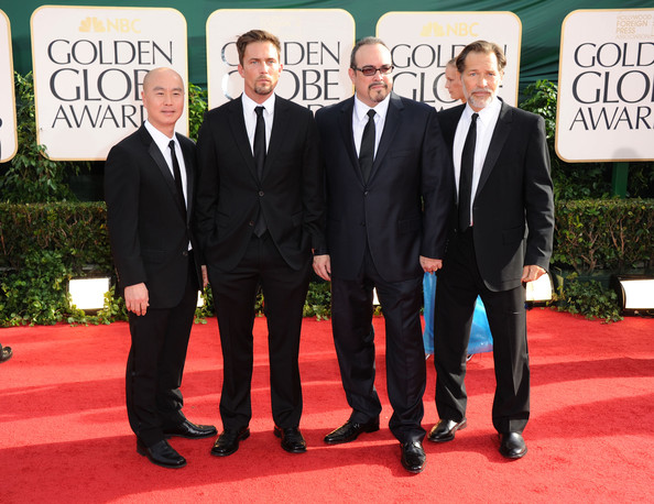 Actors C.S. Lee, Desmond Harrington, David Zayas and James Remar arrive at the 68th Annual Golden Globe Awards held at The Beverly Hilton hotel on January 16, 2011 in Beverly Hills, California.