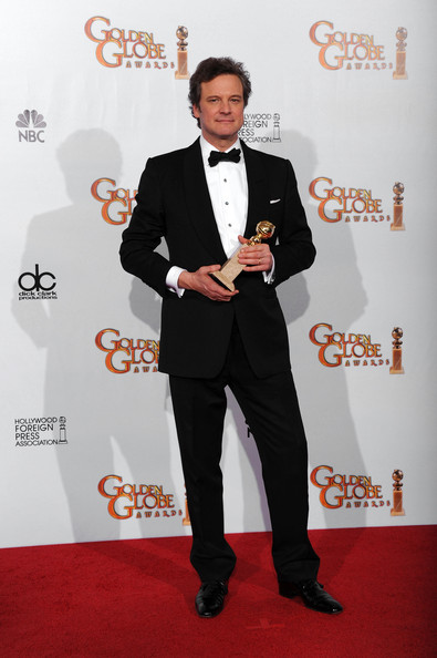 "Actor Colin Firth poses with his award for Best Performance by an Actor in a Motion Picture (Drama) for ""The King's Speech"" in the press room at the 68th Annual Golden Globe Awards held at The Beverly Hilton hotel on January 16, 2011 in Beverly Hills, California."