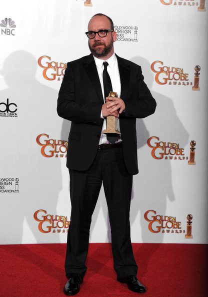 "Actor Paul Giamatti poses with his award for Best Performance by an Actor in a Motion Picture (Musical or Comedy) for ""Barney's Version"" in the press room at the 68th Annual Golden Globe Awards held at The Beverly Hilton hotel on January 16, 2011 in Beverly Hills, California."