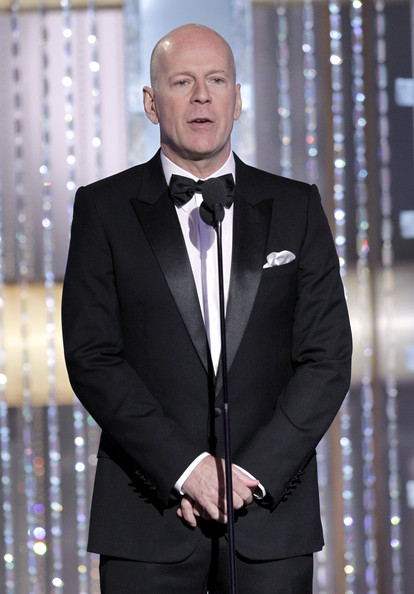 In this handout photo provided by NBC, Actor Presenter Bruce Willis speaks onstage during the Golden Globes at the Beverly Hilton International Ballroom on January 16, 2011 in Beverly Hills, California.