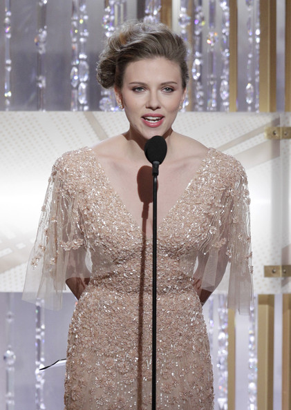 In this handout photo provided by NBC, Actress Scarlett Johansson speaks onstage during the Golden Globes at the Beverly Hilton International Ballroom on January 16, 2011 in Beverly Hills, California.