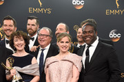"""(L-R) Actors Timothy Simons, Tony Hale, Kevin Dunn, Anna Chlumsky and Sam Richardson, winners of Best Comedy Series for """"Veep"""", pose in the press room during the 68th Annual Primetime Emmy Awards at Microsoft Theater on September 18, 2016 in Los Angeles, California."""