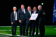 FIFA president Gianni Infantino (r) poses with the United 2026 bid (Canada, Mexico, US) officials. Sunil Gulati president of the United States Soccer Federation (l), CONCACAF President Victor Montagliani (2nd l), president of the Mexican Football Association Decio de Maria Serrano (3rd L) and president of the United States Football Association Carlos Cordeiro (4th l) after the announcement of the host for the 2026 FIFA World Cup went to United 2026 bid during the 68th FIFA Congress at Moscow's Expocentre on June 13, 2018 in Moscow, Russia.