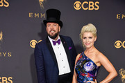 Actor Chris Sullivan (L) and Rachel Reichard attend the 69th Annual Primetime Emmy Awards at Microsoft Theater on September 17, 2017 in Los Angeles, California.
