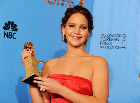 "Actress Jennifer Lawrence, winner of Best Performance by an Actress in a Motion Picture (Musical or Comedy) for ""The Silver Linings Playbook,"" poses in the press room during the 70th Annual Golden Globe Awards held at The Beverly Hilton Hotel on January 13, 2013 in Beverly Hills, California."