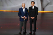 (L-R) Bob Newhart and Ben Stiller speak onstage during the 71st Emmy Awards at Microsoft Theater on September 22, 2019 in Los Angeles, California.