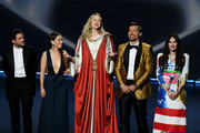 (L-R) Kit Harington, Emilia Clarke, Gwendoline Christie, and Carice van Houten speak onstage during the 71st Emmy Awards at Microsoft Theater on September 22, 2019 in Los Angeles, California.