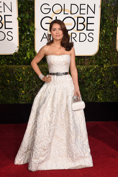 Actress Salma Hayek attends the 72nd Annual Golden Globe Awards at The Beverly Hilton Hotel on January 11, 2015 in Beverly Hills, California.