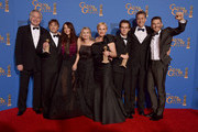 (L-R) Producer Jonathan Sehring, director Richard Linklater, actress Lorelei Linklater, producer Cathleen Sutherland, actors Patricia Arquette and Ellar Coltrane, producer John Sloss, and actor Ethan Hawke, winners of Best Motion Picture - Drama for 'Boyhood,' pose in the press room during the 72nd Annual Golden Globe Awards at The Beverly Hilton Hotel on January 11, 2015 in Beverly Hills, California.