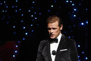 Sam Heughan speaks onstage at the 72nd Writers Guild Awards at Edison Ballroom on February 01, 2020 in New York City.