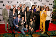 American Theatre Wing President and CEO Heather Hitchens, The Broadway League Chairman Thomas Schumacher, American Theatre Wing Chairman David Henry Hwang, The Broadway League President and CEO Charlotte St. Martin and The cast and crew of Hadestown attend The 73rd Annual Tony Awards Meet The Nominees Press Day on May 01, 2019 in New York City.