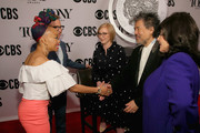 (L-R) Camille A. Brown, The Broadway League Chairman Thomas Schumacher, American Theatre Wing President and CEO Heather Hitchens, American Theatre Wing Chairman David Henry Hwang, and The Broadway League President and CEO Charlotte St. Martin attend The 73rd Annual Tony Awards Meet The Nominees Press Day on May 01, 2019 in New York City.
