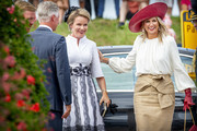 Queen Mathilde of Belgium and Queen Maxima of The Netherlands (R) attend the 75th anniversary of the liberation of The Netherlands in Zeeland on August 31, 2019 in Terneuzen, Netherlands.