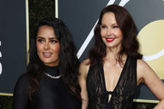 Salma Hayek and Ashley Judd attend The 75th Annual Golden Globe Awards at The Beverly Hilton Hotel on January 7, 2018 in Beverly Hills, California.