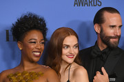 (L-R) Actors Samira Wiley, Madeline Brewer, Joseph Fiennes of 'The Handmaid's Tale' pose with their awards for Best Television Series Drama in the press room during The 75th Annual Golden Globe Awards at The Beverly Hilton Hotel on January 7, 2018 in Beverly Hills, California.