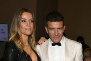 Nicole Kimpel  (L) and Antonio Banderas attend the 77th Annual Golden Globe Awards Cocktail Reception at The Beverly Hilton Hotel on January 05, 2020 in Beverly Hills, California.