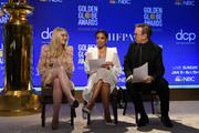 Presenters Dakota Fanning, Susan Kelechi Watson and Tim Allen attend the 77th Annual Golden Globe Awards Nominations Announcement at The Beverly Hilton Hotel on December 09, 2019 in Beverly Hills, California.