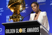 Susan Kelechi Watson speaks at the 77th Annual Golden Globe Awards Nominations Announcement at The Beverly Hilton Hotel on December 09, 2019 in Beverly Hills, California.
