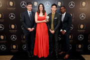 (L-R) Michael Schur, D'Arcy Carden, Manny Jacinto and William Jackson Harper pose with the Peabody Award for The Good Place in the press room of 78th Annual Peabody Awards Ceremony Sponsored By Mercedes-Benz at Cipriani Wall Street on May 18, 2019 in New York City.