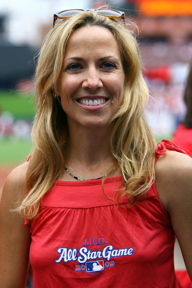 Musician Sheryl Crow looks on before the 2009 MLB All-Star Game at Busch Stadium on July 14, 2009 in St Louis, Missouri.