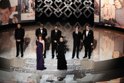 Actors (L-R) Jon Cryer, Molly Ringwald, Anthony Michael Hall, Judd Nelson, Ally Sheedy, Macaulay Culkin and Matthew Broderick present tribute to late director John Hughes onstage during the 82nd Annual Academy Awards held at Kodak Theatre on March 7, 2010 in Hollywood, California.