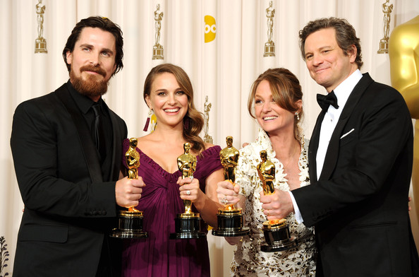 (L-R) Actor Christian Bale, winner of the award for Best Actor in a Supporting Role for 'The Fighter', Natalie Portman, winner of the award for Best Actress in a Leading Role for 'Black Swan', Melissa Leo, winner of the award for Best Actor in a Supporting Role for 'The Fighter', and Colin Firth, winner of the award for Best Actor in a Leading Role for 'The King's Speech', pose in the press room during the 83rd Annual Academy Awards held at the Kodak Theatre on February 27, 2011 in Hollywood, California.
