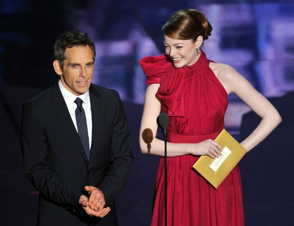 Presenters Ben Stiller (L) and Emma Stone speak onstage during the 84th Annual Academy Awards held at the Hollywood & Highland Center on February 26, 2012 in Hollywood, California.