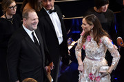 Producer Harvey Weinstein and designer Georgina Chapman in the audience during the 88th Annual Academy Awards at the Dolby Theatre on February 28, 2016 in Hollywood, California.