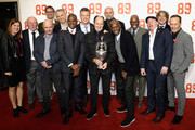 "(L-R)  Producer Amy Lawrence, director David Stewart, Nick Hornby, Tony Adams, Alan Smith, Paul Davis, David O'Leary, George Graham, Steve Bould, Michael Thomas, Ian Wright, Perry Groves, Alan Davies and Lee Dixon attend the ""89"" World Premiere held at Odeon Holloway on November 8, 2017 in London, England."
