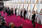 Ansel Elgort (R) and Violetta Komyshan attend the 90th Annual Academy Awards at Hollywood & Highland Center on March 4, 2018 in Hollywood, California.
