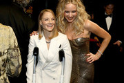 In this handout provided by A.M.P.A.S., Jodie Foster (L) and Jennifer Lawrence attend the 90th Annual Academy Awards at the Dolby Theatre on March 4, 2018 in Hollywood, California.