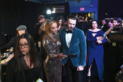 In this handout provided by A.M.P.A.S., Jennifer Lopez and Chris Evans pose backstage during the 91st Annual Academy Awards at the Dolby Theatre on February 24, 2019 in Hollywood, California.