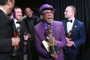 In this handout provided by A.M.P.A.S., Spike Lee, David Rabinowitz, Kevin Willmott and Charlie Wachtel pose with the Adapted Screenplay award for 'BlacKkKlansman' backstage during the 91st Annual Academy Awards at the Dolby Theatre on February 24, 2019 in Hollywood, California.