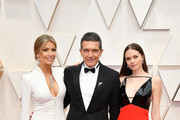(L-R) Nicole Kimpel, Antonio Banderas, and Stella Banderas attend the 92nd Annual Academy Awards at Hollywood and Highland on February 09, 2020 in Hollywood, California.