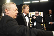 In this handout photo provided by A.M.P.A.S. Best Actor in a Supporting Role winner Brad Pitt looks on backstage during the 92nd Annual Academy Awards at the Dolby Theatre on February 09, 2020 in Hollywood, California.