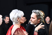 In this handout photo provided by A.M.P.A.S. Jane Fonda and Best Actor award winner Joaquin Phoenix embrace backstage during the 92nd Annual Academy Awards at the Dolby Theatre on February 09, 2020 in Hollywood, California.