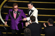 (L-R) Elton John and David Furnish attend the 92nd Annual Academy Awards at Dolby Theatre on February 09, 2020 in Hollywood, California.