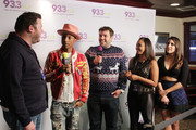 "(L-R) Kane of The Kane Show, Pharrell Williams, Intern John, Danni Starr, and Rose of The Kane Show interview at 93.3 FLZ's Jingle Ball ""Pre-Show Free Show"", 93.3 FLZ's Jingle Ball 2014 official pre-show at Amalie Arena on December 22, 2014 in Tampa, Florida."