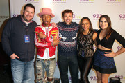"(L-R) Kane of The Kane Show, Pharrell Williams, Intern John, Danni Starr, and Rose of The Kane Show onstage at 93.3 FLZ's Jingle Ball ""Pre-Show Free Show"", 93.3 FLZ's Jingle Ball 2014 official pre-show at Amalie Arena on December 22, 2014 in Tampa, Florida."