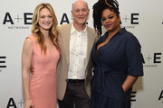 (L-R) Actor Marin Ireland, executive producer Neil Meron, and actor Jill Scott of 'Flint' at the Lifetime and A+E Networks portion of the 2017 Summer Television Critics Association Press Tour at The Beverly Hilton Hotel on July 28, 2017 in Beverly Hills, California.