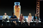 (L-R) Executive producer Neil Meron, actor Jill Scott, actor Betsy Brandt, actor Marin Ireland, and Flint resident/activist Melissa Mays of 'Flint' present onstage at the Lifetime and A+E Networks portion of the 2017 Summer Television Critics Association Press Tour at The Beverly Hilton Hotel on July 28, 2017 in Beverly Hills, California.