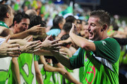 Ufuk Talay of the Fury acknowledges the crowd after winning the round ten A-League match between the North Queensland Fury and the Perth Glory at Dairy Farmers Stadium on October 15, 2010 in Townsville, Australia.