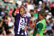 Adriano Pellegrino of the Glory and Ufuk Talay of the Fury compete for  the ball during the round nine A-League match between the Perth Glory and the North Queensland Fury at Members Equity Stadium on October 3, 2009 in Perth, Australia.