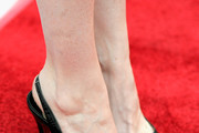 "Actress Nicole LaLiberte, shoe detail, attends A24/DIRECTV's ""The Adderall Diaires"" Premiere at ArcLight Hollywood on April 12, 2016 in Hollywood, California."