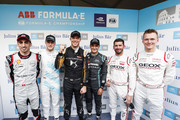 In this handout provided by ABB FIA Formula E, Super pole drivers Sébastien Buemi (CHE), Nissan e.Dams, Stoffel Vandoorne (BEL), HWA Racelab, Mitch Evans (NZL), Panasonic Jaguar Racing, Jose Maria Lopez (ARG), GEOX Dragon Racing, Maximilian Günther (DEU), Dragon Racing and pole position sitter Andre Lotterer (DEU), DS TECHEETAH during the ABB FIA Formula E Championship Round 7 GEOX Rome E-Prix 2019 at Circuito Cittadino dell'EUR on April 13, 2019 in Rome, Italy.