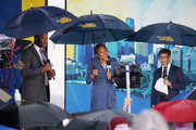 "(L-R) Michael Strahan, Robin Roberts and George Stepanopoulos during ABC's ""Good Morning America"" Live From Philadelphia broadcast at the steps of the Philadelphia Art Museum on June 13, 2019 in Philadelphia, Pennsylvania."