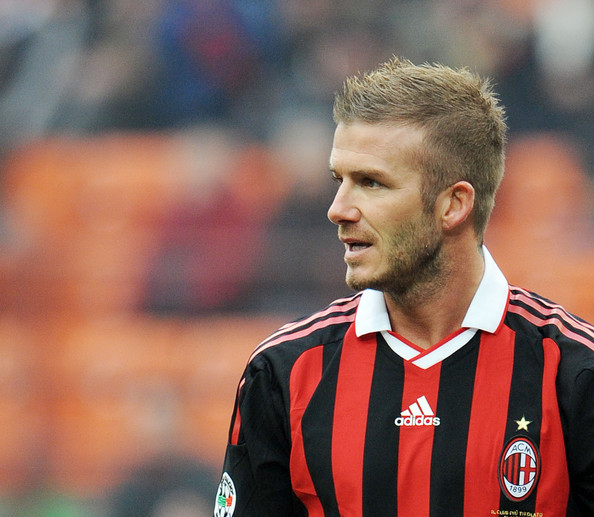 David Beckham of Milan in action during the Serie A match between Milan and