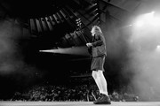 This image was converted to black and white using digital filters) Guitar player Angus Young of AC/DC performs during the AC/DC Rock Or Bust Tour at Madison Square Garden on September 14, 2016 in New York City.