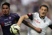 Juan Manuel Vargas of ACF Fiorentina battles for the ball with Milan Djuric of AC Cesena during the Serie A match between ACF Fiorentina and AC Cesena at Stadio Artemio Franchi on May 3, 2015 in Florence, Italy.